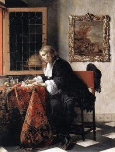 gabriel metsu man writing a business letter