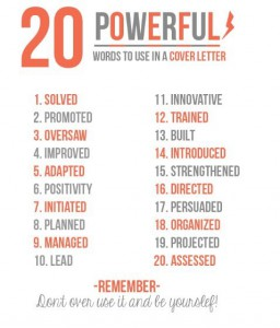 words to use in a cover letter