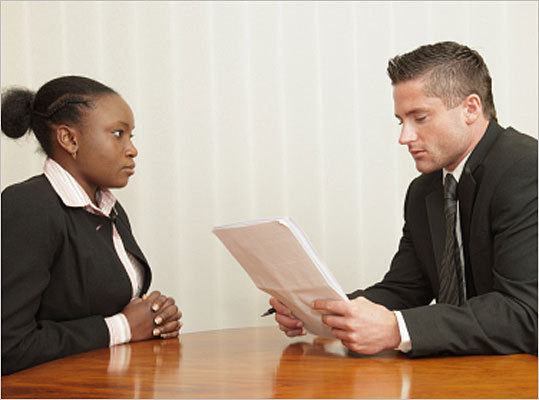 young lady at job interview