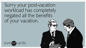 card about vacations and work