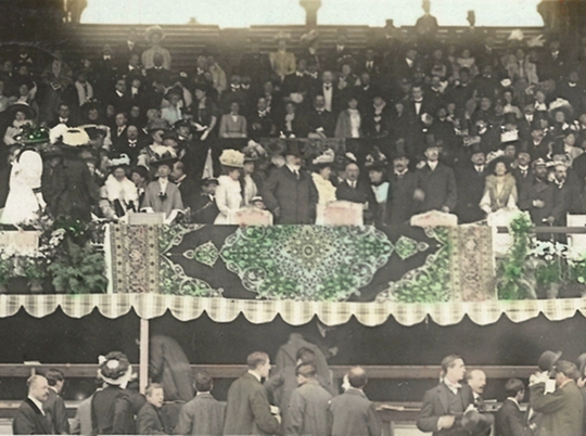1908 postcard (cropped) showing King Edward VII at the opening ceremony.