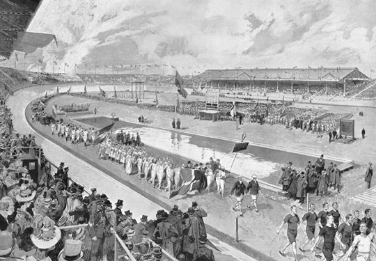 Engraving of the opening parade from the <em></p> <p class=