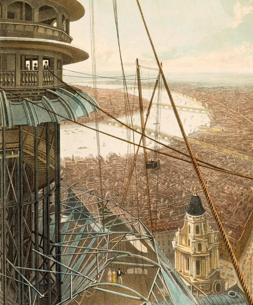 Detail from Bird's Eye View from the Staircase & the Upper Part of the Pavilion in the Colosseum, Regent's Park (1829), a colored aquatint by Rudolph Ackermann. The distant image of London you see is not a view to the ground below but rather the painted backdrop of the panorama.