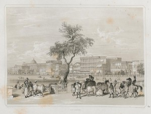 "A view of the ""Esplanade,"" from Charles D'Oyly's Views of Calcutta and its Environs (1848)."