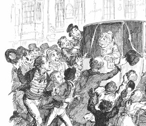 Grimaldi pursued by his adoring fans after he had to run through streets on the way to a show before jumping into a coach—illustration by Cruikshank from the Memoirs.