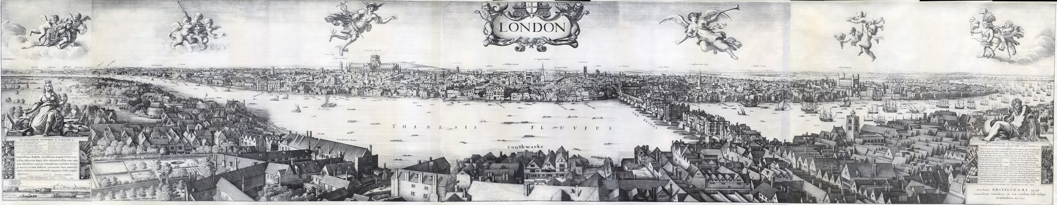 Long View of London from Bankside, a panoramic etching made by Wenceslas Hollar in Antwerp, 1647. The image is six plates that join together, each consisting of drawings made from a single viewpoint, the tower of St. Saviour in Southwark (now Southwark Cathedral)