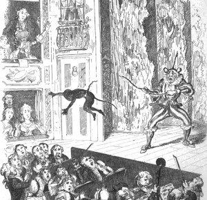 A young Joseph Grimaldi, dressed as a monkey, getting propelled into the audience when the rope his father was swinging him round by snapped - illustration by George Cruikshank from the Memoirs.