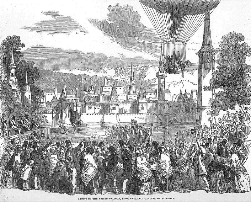 """Ascent Of The Nassau Balloon, From Vauxhall Gardens, On Saturday,"" a print from 1850."