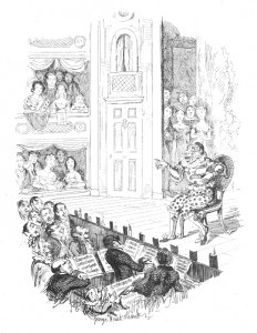 Grimaldi delivering his 'last song' at his final performance in 1828, at this stage of his life too weak to stand and so remaining sitting throughout—illustration by Cruikshank from the Memoirs.
