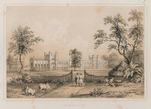 A view of Bishop's College, founded in 1820, from Charles D'Oyly's Views of Calcutta and its Environs (1848).