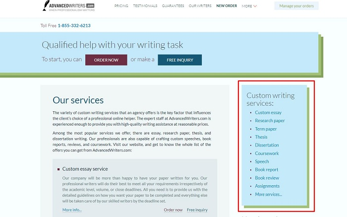advancedwriters services